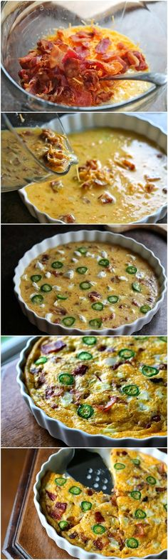 Jalapeño Popper Quiche 1 Jalapeño, thinly sliced 5 eggs 1/2 milk 1 tsp seasoned salt 1 cup shredded cheese 1 cup bacon, cooked 2 Tbsp cream cheese Preheat the oven to 350 degrees. Whisk together eggs, milk, seasoned salt, cheese and bacon. Pour mixture into baking dish sprayed with cooking spray. Pull of little chunks of cream cheese and place around the top of egg mixture. Place jalapeño slices on top as well. Bake in oven for 20-25 minutes depending on how big of a baking dish you are…