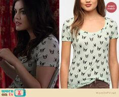 Aria's dog print tee on Pretty Little Liars.  Outfit details: http://wornontv.net/16575/