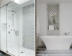 consider doing one portion of master shower wall with glass accent tile