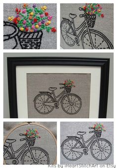 Bicycle embroidery kit DIY embroidery hoop art by iHeartStitchArt