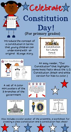 Constitution Day is September 17th! This pack has activities for the primary grades. Includes an original story that puts the concept of the Constitution in terms that younger students can understand!  K-2 grades