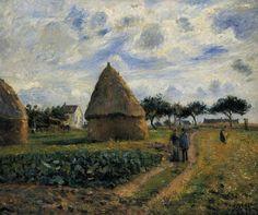 """Camille Pissarro (1830-1903) ~ """"Paysans et Meule"""" ~ Huile sur Toile"""