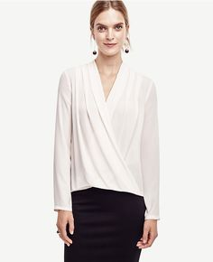 would look good tucked in a pencil - Thumbnail Image of Primary Image of Silky Wrap Blouse