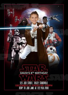 Star Wars Invitation The Last Jedi Birthday Invite with