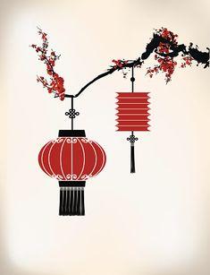 Chinese Lantern hang on cherry tree Lantern Drawing, Lantern Tattoo, Chinese New Year Decorations, Chinese Drawings, Art Chinois, Plakat Design, Japan Painting, Art Japonais, Tree Illustration