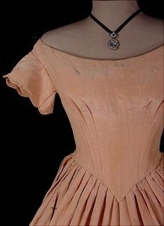 c. 1848 Blush Rose Pink Silk Moire Slightly Trained Ball Gown