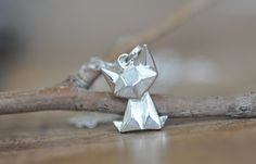 Sterling Silver Origami Cat Necklace / Fox by JamberJewels on Etsy
