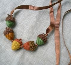 Amigurumi Acorns necklace-- cute :) by Wenskidoodle