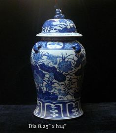 blue and white asian decor   Chinese Blue & White Porcelain Lotus Temple General Jar asian ...