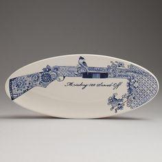 Hand Painted Weaponry Dishware By Trevor Jackson. Trevor Jackson's ceramic work is deceptively innocent.