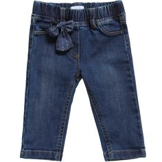 Girls blue jeans by Il Gufo. Made in soft and lightweight denim, they have a worn look, belt loops and an elasticated waist for comfort and a blue spotted bow sewn on the front.<br /> <ul> <li>97% cotton, 3% elastane (soft, stretchy denim)</li> <li>Machine wash (30*C)</li> <li>Elasticated waist</li> <li>Bow is detachable</li> <li>Made in Italy</li> </ul>