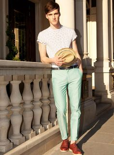 Topman Green Oxford Skinny Suit Trousers amd White Crew Neck T. Darnit I live this look.