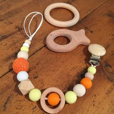 Sensory Teething Pacifier/Toy Clip, Holder, On-Trend, Natural Wood, Silicone and Crochet Beads, Orange and Yellow by AeviternalSensory on Etsy