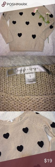 LC Lauren Conrad heart design sweater size small So super adorable heart sweater. The brand is LC Lauren Conrad. It's a size small. It's tan with black hearts! Great long length. Arm pit to pit measures approximately 18 inches and total length measures approximately 24 inches from shoulder the hem LC Lauren Conrad Sweaters Crew & Scoop Necks