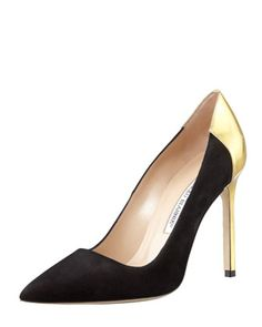 Another modern twist on the classic pump.  These Black/Gold MANOLO BLAHNIK heels are perfect for your LBD! www.ChristinaStyles.com Evaluate. Shop. Style.