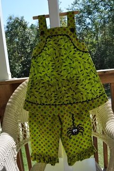 """Love the little spider coming down and the lime color used on something """"Halloweeny"""". Children's Corner patterns Callie and Lettie"""