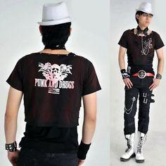 Alternative Black Studded Bat Gothic Punk Choker T Shirt Clothes Men SKU-11409290