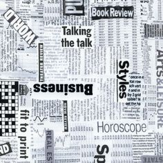 Timeless Treasures House Designer - Adult Novelty - Newspaper in White