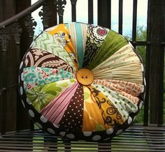 Sprocket Pillow (make with old neckties) :: Cluck Cluck Sew