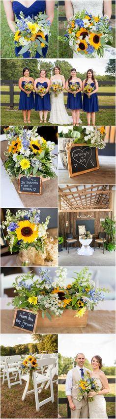 Sunflowers & burlap, rustic summer wedding, blue bridesmaids, chalkboard signs // Caley Newberry Photography
