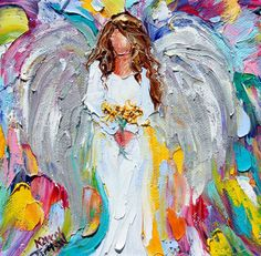Original oil painting Angel and Sunflowers by Karen's Fine Art – Gallery Represented Modern Impressionism in oils impasto canvas painting on