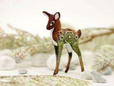 Deer Totem Figurine Fantasy Skulpture Christmas Toy Guardian Spirit Amulet Shamanic Native Green Forest