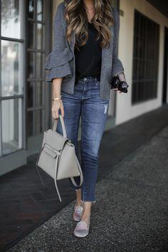 Ruffle cardigan and distressed denim #styleblogger #denim
