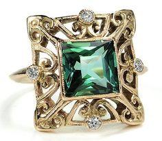 Enticing Green Tourmaline & Diamond Ring by shawna