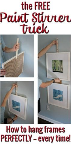 How to Hang Ikea Ribba Frames in a Straight and Level Grid BRILLIANT! The free way to remove all aggravation from hanging picture frames! Hang them quickly and easily from now on!