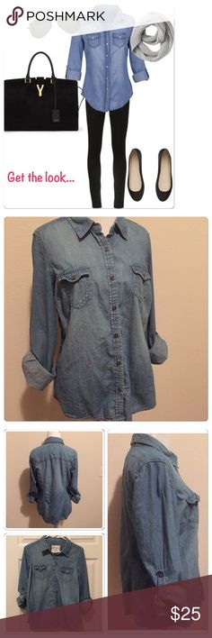 💠Sonoma Life Style Jean Button Down 💠Love this!!! Bought and washed once but never got to wear :( doesn't fit now. In great condition. The Sonoma Life Style Button Down Jean Shirt. Sleeves can been worn rolled up, or down.  super soft and comfy being 100% cotton. Size Medium, but also great for a small (for a more oversized look) Looks so cute with leggings and boots. Pics hard to take this time of night. May update in morning. Wrinkled from storage 😝  •Will consider reasonable offers…