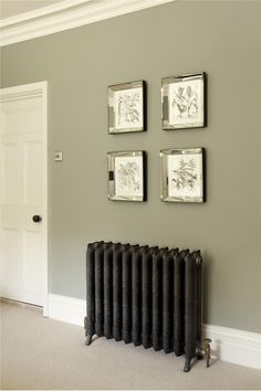 Good hallway colours Farrow and Ball - bedroom wall in Pigeon Estate Emulsion, door and trim in White Tie Estate Eggshell. Hallway Colours, Bedroom Wall Colors, Bedroom Decor, Wall Decor, Green Hallway Paint, Living Room Wall Colours, Hallway Colour Schemes, Grey Hallway, Bedroom Ideas