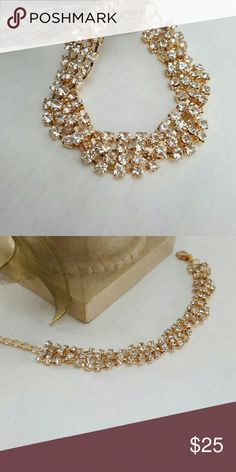 """GOLD RHINESTONE BRACELET Beautiful rhinestones  on a gold bracelet.  It's 5 1/2"""" long and can go up to 8"""" with the chain extension.  Perfect for a special occasion Boutique  Jewelry Bracelets"""