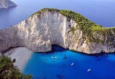 Shipwreck Bay - Zakynthos, Greece;  Zakynthos (also called Zante) is a Greek island in the Ionian Sea;  photo by _Zinni_, via Flickr