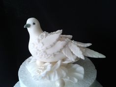 Thought I would have a little go at making a fondant dove - inspired by a Christmas decoration:-)