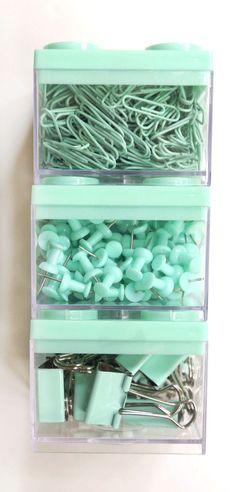FOR SALE | MINT School Supplies, Paperclips, Push Pins Thumb Tacks Binder Clips Bulletin Board Desk Accessories Mint Blue Mint Green Mint Color Seafoam Green