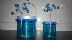 Beaded tree wire table decorations by @heather8532