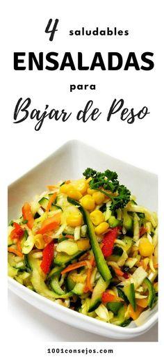 Aprende cómo preparar estas 4 deliciosas ensaladas para adelgazar. Son saludables y muy fáciles de preparar. | Dietas para bajar de peso | #fitness #ensaladas #recetasfáciles