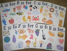 "Alphabet Posters - these are like the alphabet ""books"" we made out of the legal sized file folders (added the Jim Stone Animated Literacy character names to the front of the file folder and then had them all laminated). The kids love to look at them often - especially as the letters covered start to grow."