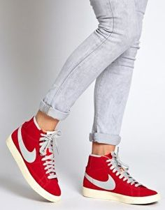 Image 3 of Nike Blazer Mid Red High Top Sneakers