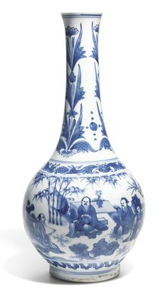 A BLUE AND WHITE BOTTLE VASE CIRCA 1640