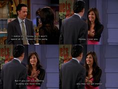 Won't spend all the money on one party ~ Chandler, Monica ~ Friends Quotes ~ Season 7, Episode 2: The One with Rachel's Book