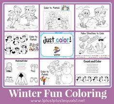 Winter Fun Coloring Printables {free} from @{1plus1plus1} Carisa
