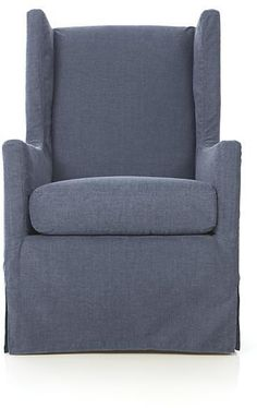 """Luxe Slipcovered Swivel Glider 28"""" wide. would love to use two of these in the basement."""