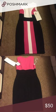 New with tags Calvin Klein dress Brand new with tags Calvin Klein dress. Fully lined. Black white and pink. Size 2 Calvin Klein Dresses Midi