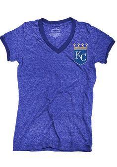 Kansas City Royals Womens T-Shirt - Royal Ringer Ladies  Short Sleeve Tee http://www.rallyhouse.com/kansas-city-royals-womens-royal-ringer-v-neck-t-shirt-18240007?utm_source=pinterest&utm_medium=social&utm_campaign=Pinterest-KCRoyals $34.99