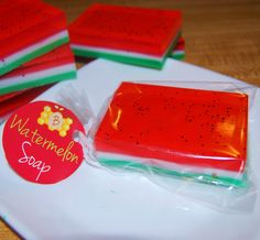 Watermelon Scented Soap Bars (4oz) Glycerin - Shea Butter - Mango Butter by TheBumbleBe on Etsy