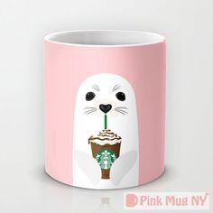 Taza mug personalizado diseñado PinkMugNY - me encanta Starbucks - sello blanco
