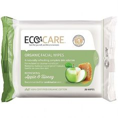 Organic, Biodegradable, Cruelty Free Ecocare Apple Honey Face Wipes (25 wipes)