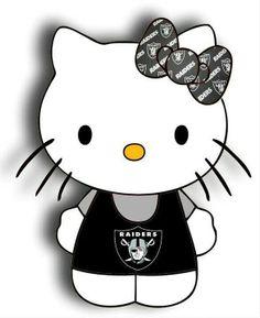Hello kitty raider love Raiders Cake, Raiders Stuff, Raiders Girl, Oakland Raiders Fans, Best Football Team, Football Memes, Nfl Football, Dodgers, La Lakers