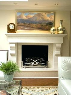 ab50afa731383 This is a stone mantle but should be fine in painted wood. Notice that the  whole FP is up on the hearth North Shore Living Room - contemporary -  living room ...